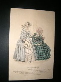 Le Follet C1840's Hand Coloured Fashion Print 883